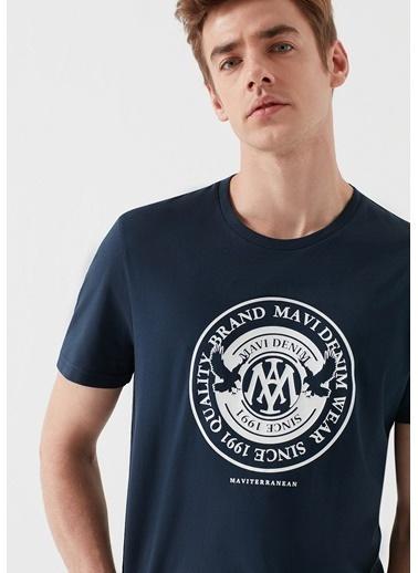 Mavi Logolu Tişört Mavi